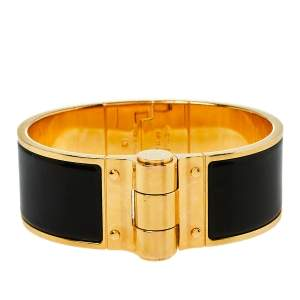 Hermes Charniere Gold Plated Black Enamel Uni Wide Hinged Bracelet S