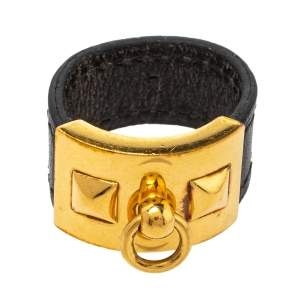 Hermes Collier De Chien Gold Plated and Black Leather Band Ring Size EU 61