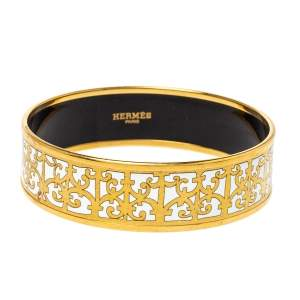 Hermes Balcons du Guadalquivir White Enamel Gold Plated Bangle