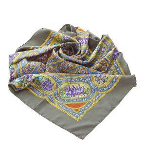 Hermes Brown and multicolor Cashmere Silk Qalamdan Scarf