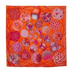 "Hermes Orange Printed Nwt Auth Paris ""l'art Du Temari""  Square Silk Scarf"
