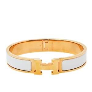 Hermès Clic H White Enamel Rose Gold Plated Narrow Bracelet PM