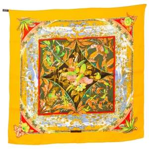 Hermes Yellow Tropiques Silk Square Scarf