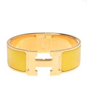 Hermès Clic Clac H Yellow Enamel Gold Plated Wide Bracelet PM