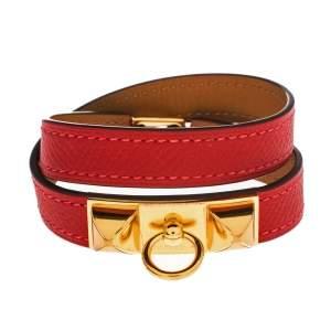 Hermes Rouge Casaque Epsom Leather Gold Plated Rivale Double Tour Bracelet S