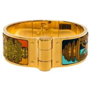Hermes Gold Plated Merveilleuses Lanternes Enamel Hinged Bracelet S
