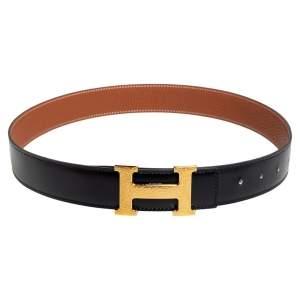 Hermes Noir/Gold Box and Togo Leather Hammered Finish H Buckle Reversible Belt 80 CM