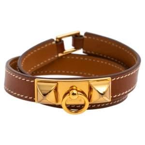 Hermès Brown Leather Rivale Double Tour Bracelet M