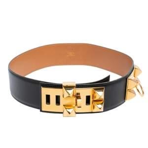 Hermes Noir Box Leather Gold Hardware Collier de Chien Belt 70 CM