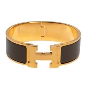 Hermès Clic Clac H Brown Enamel Gold Plated Wide Bracelet PM