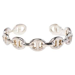 Hermes Chaine d'Ancre Enchainee Sterling Silver Cuff Bracelet SH
