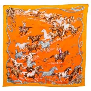 Hermes Orange Les Mustangs Silk Scarf