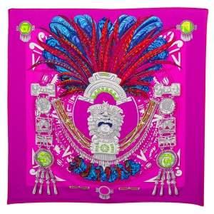 Hermes Purple Mexique Silk Scarf