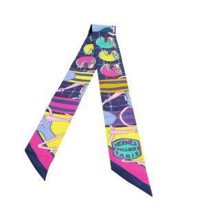 Hermes Multicolor Tatersale Silk Twilly Scarf