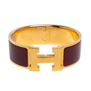 Hermès Clic Clac H Rouge Enamel Gold Plated Narrow Bracelet PM
