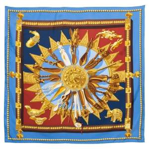 Hermes Blue Cuillers D'Áfrique Printed Silk Square Scarf