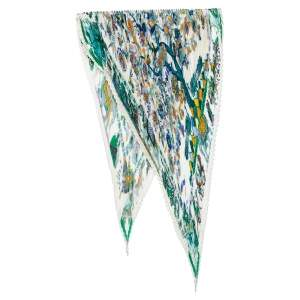 Hermes White Fantaisies Indiennes Printed Plisse Silk Scarf
