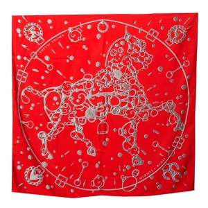 Hermes Red Cheval Fusion Silk Square Scarf