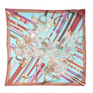 Hermès Blue Coutures Détriers Printed Silk Square Scarf