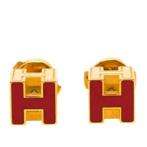 Hermes Cage d'H Red Lacquer Gold Plated Stud Earrings