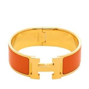 Hermès Clic Clac H Orange Enamel Gold Plated Wide Bracelet PM