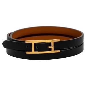Hermes Hapi 3 Black Leather Gold Plated Wrap Bracelet M