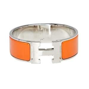 Hermès Clic Clac H Orange Enamel Palladium Plated Wide Bracelet PM