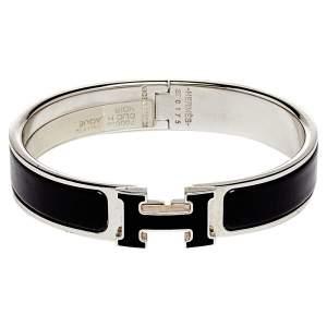 Hermes Clic H Black Enamel Palladium Plated Narrow Bracelet PM