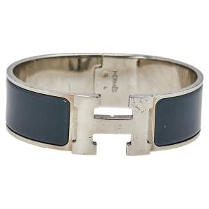 Hermès Clic Clac H Grey Enamel Palladium Plated Wide Bracelet PM