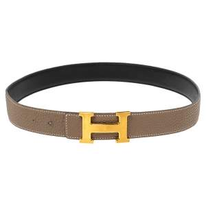 Hermes Etain/Black Clemence and Swift Leather H Buckle Belt 85CM