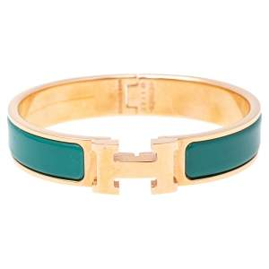 Hermès Clic H Green Enamel Gold Plated Narrow Bracelet PM