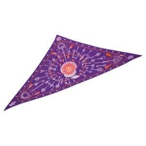 Hermès Purple Les Clefs Triangle Silk Scarf