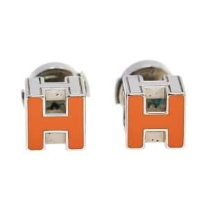Hermès Palladium Plated Orange Enamel Cage d'H Stud Earrings