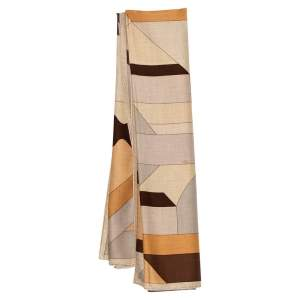 Hermes Beige Printed Perspective Cavaliere Cashmere & Silk Scarf