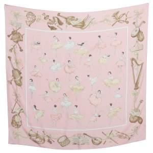 Hermès Pale Pink La Danse Silk Scarf