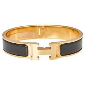 Hermès Clic H Black Enamel Gold Plated Narrow Bracelet PM