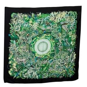 Hermès Green  Au Coeur De La Printed Silk Square Scarf