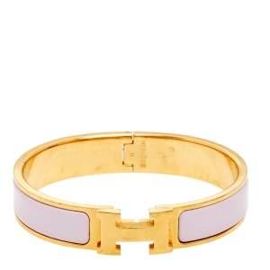 Hermès Clic H Pale Pink Enamel Gold Plated Narrow Bracelet PM