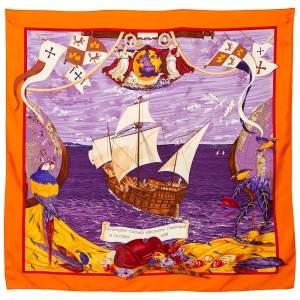 Hermes Orange Christophe Colomb Découvre l'Amerique Silk Square Scarf
