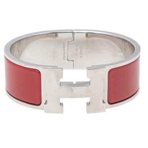 Hermes Clic Clac H Palladium Plated Red Enamel Cuff Bracelet