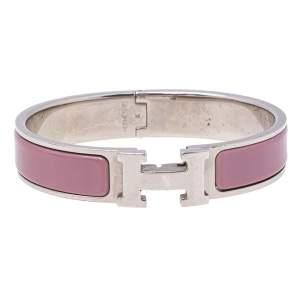 Hermès Clic H Lilac Enamel Palladium Plated Narrow Bracelet PM
