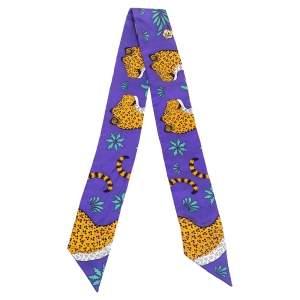 Hermes Lavender Leopard Print Silk Twilly