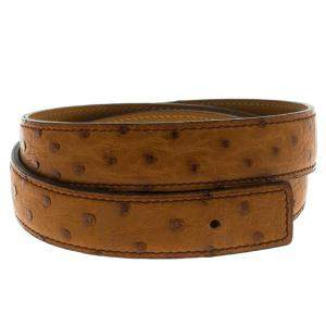 Hermes Brown Ostrich Belt Strap 85 CM