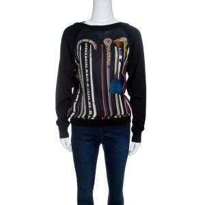 Hermes Black Printed Silk Paneled Cashmere Sweater S