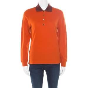Hermes Seiller Orange Contrast Trim Detail Polo T-Shirt S