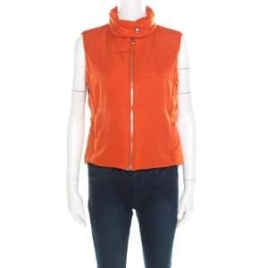 Hermes Sellier Orange Quilted Zip Front Vest M