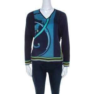 Hermes Navy Blue Printed Cotton Silk Long Sleeve Sweater Top S