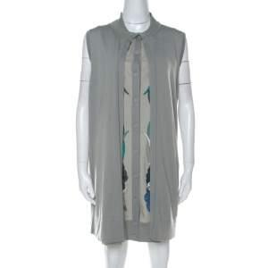 Hermes Grey Printed Cotton Sleeveless Cardigan Dress M
