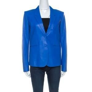 Hermes Blue Lambskin Blazer M