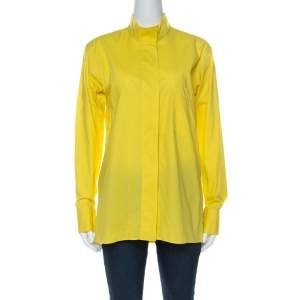 Hermes Yellow Cotton Stand Up Collar Button Front Shirt M